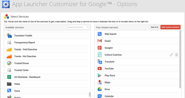App Launcher Customizer for Google Options