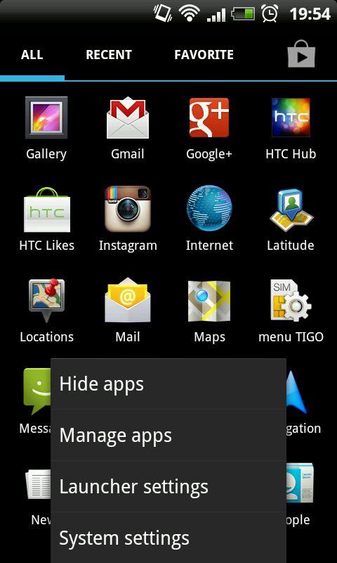 Holo Apps - menu
