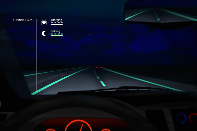 lineas que brillan en la oscuridad - carreteras inteligentes