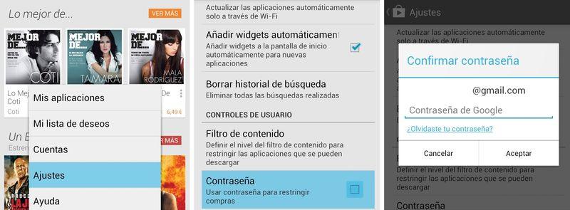 restringir compras en android