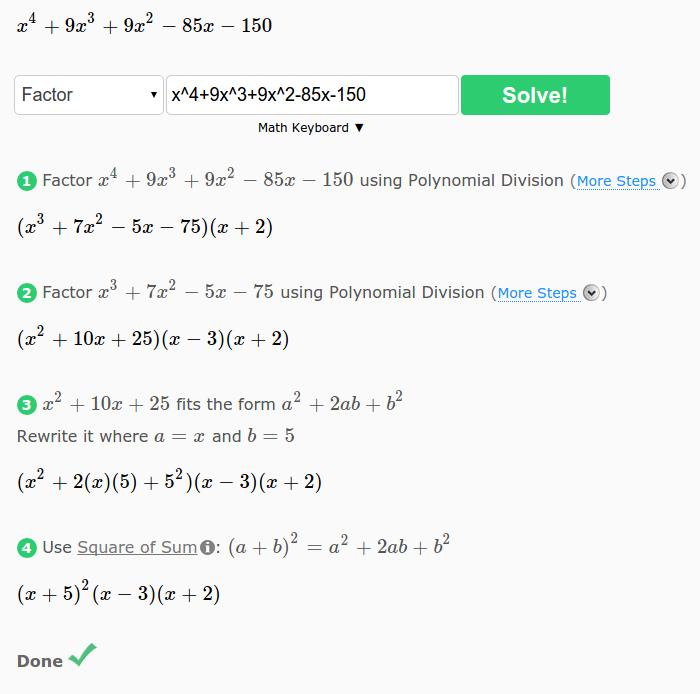 cymath factorizacion