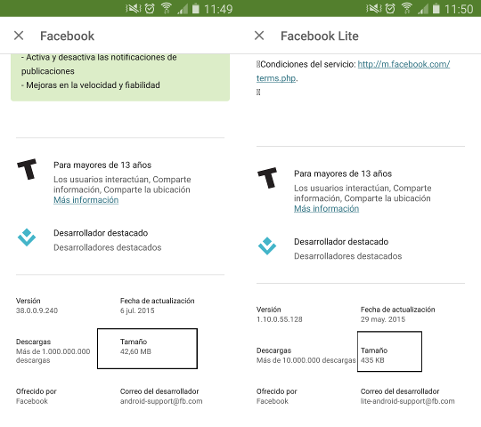 facebook vs facebook lite MB