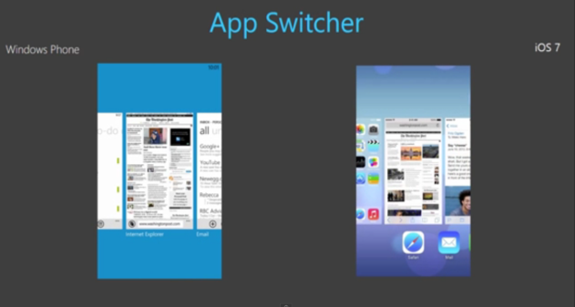 similitudes windows phone vs ios7